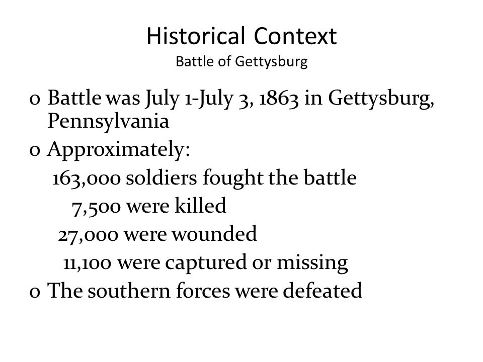 Historical Context Battle of Gettysburg