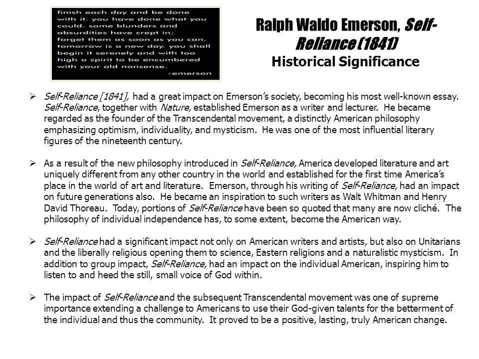 ralph waldo emerson self reliance ppt  ralph waldo emerson self reliance 1841 historical significance