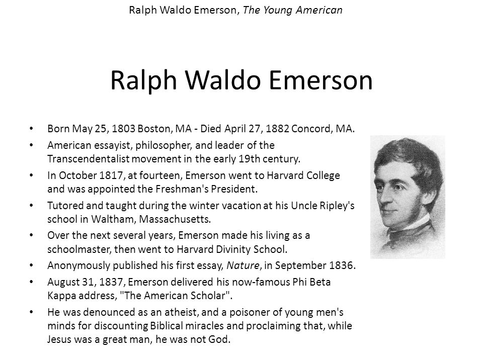 Ralph Waldo Emerson, The Young American