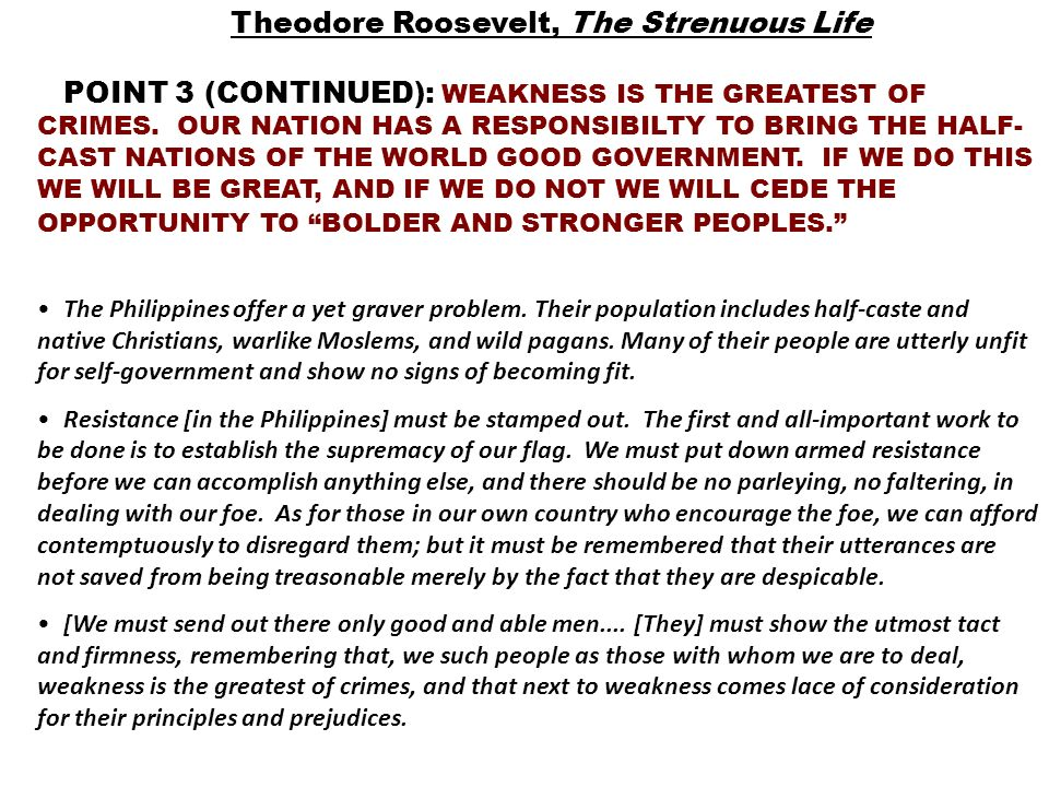 Theodore Roosevelt, The Strenuous Life