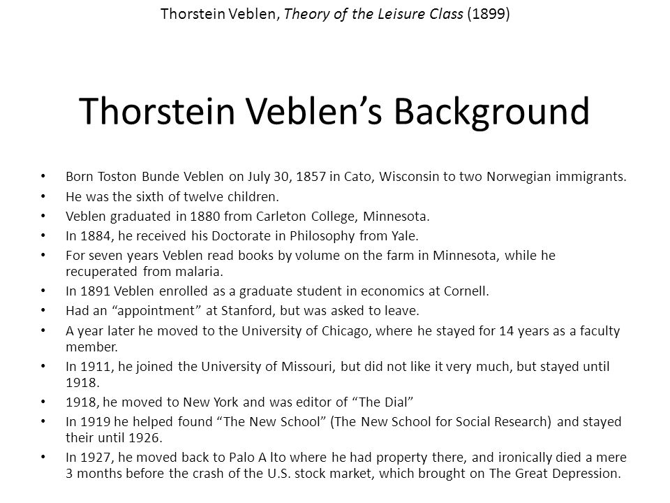 Thorstein Veblen's Background