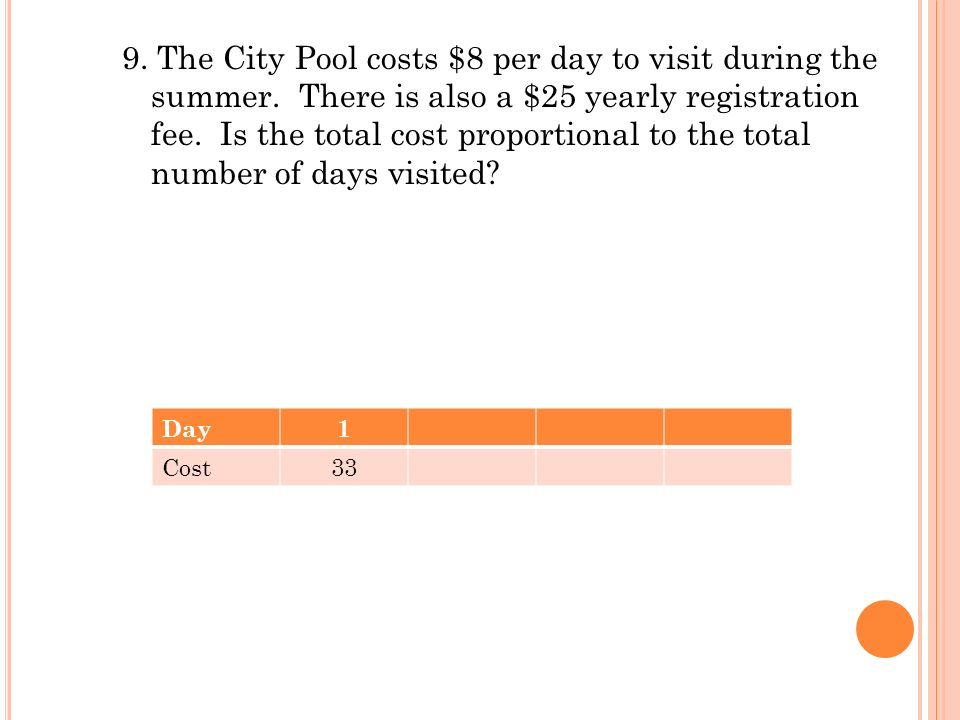 9. The City Pool costs $8 per day to visit during the summer