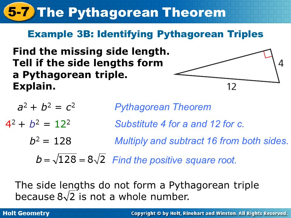 Example 3B: Identifying Pythagorean Triples