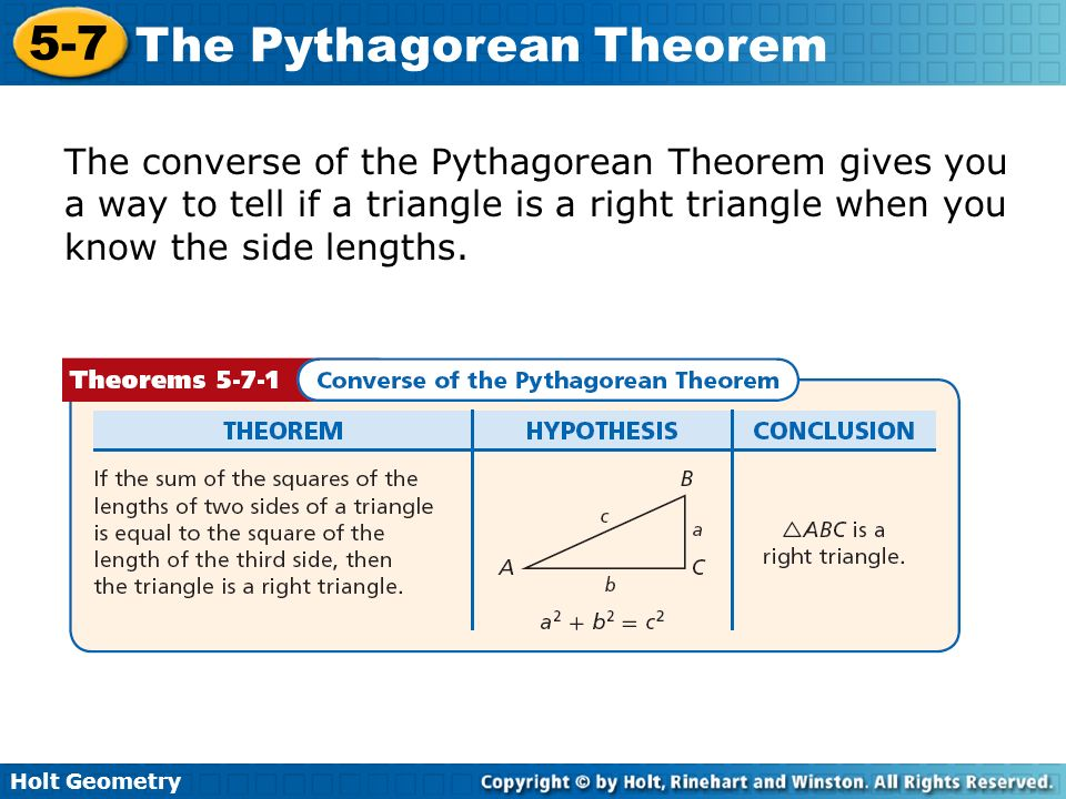 The converse of the Pythagorean Theorem gives you a way to tell if a triangle is a right triangle when you know the side lengths.