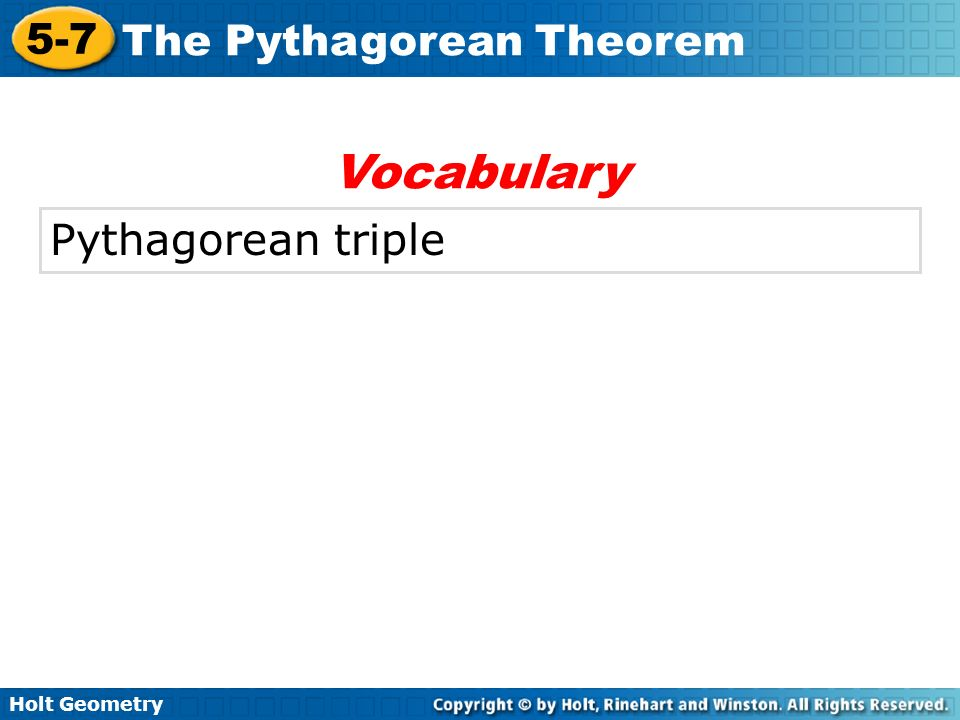 Vocabulary Pythagorean triple