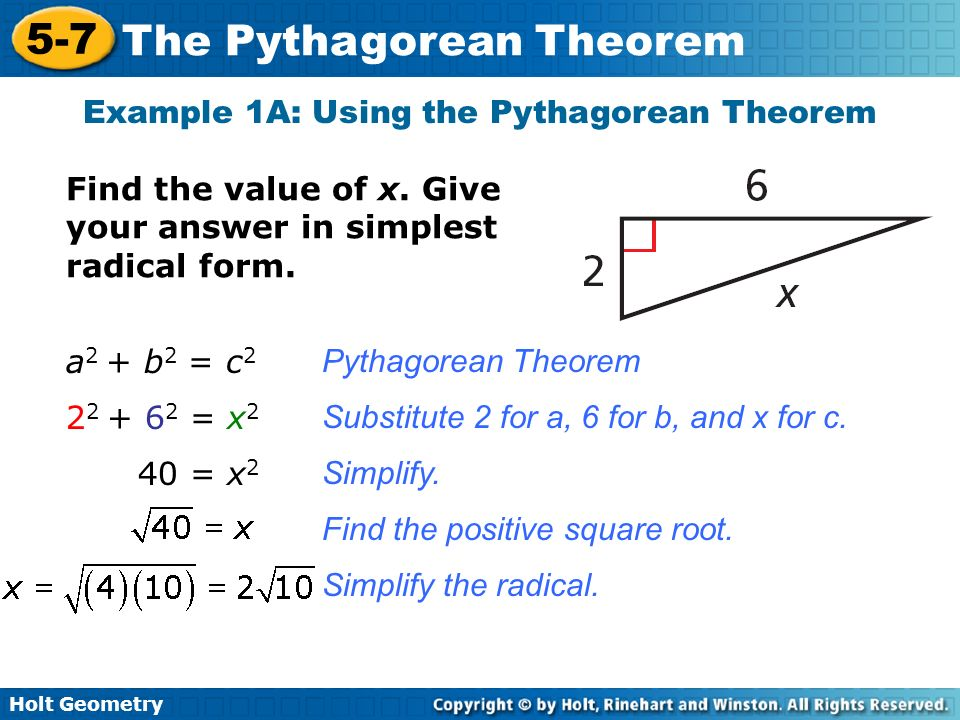 Example 1A: Using the Pythagorean Theorem