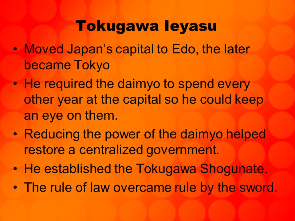 Tokugawa Ieyasu Moved Japan's capital to Edo, the later became Tokyo