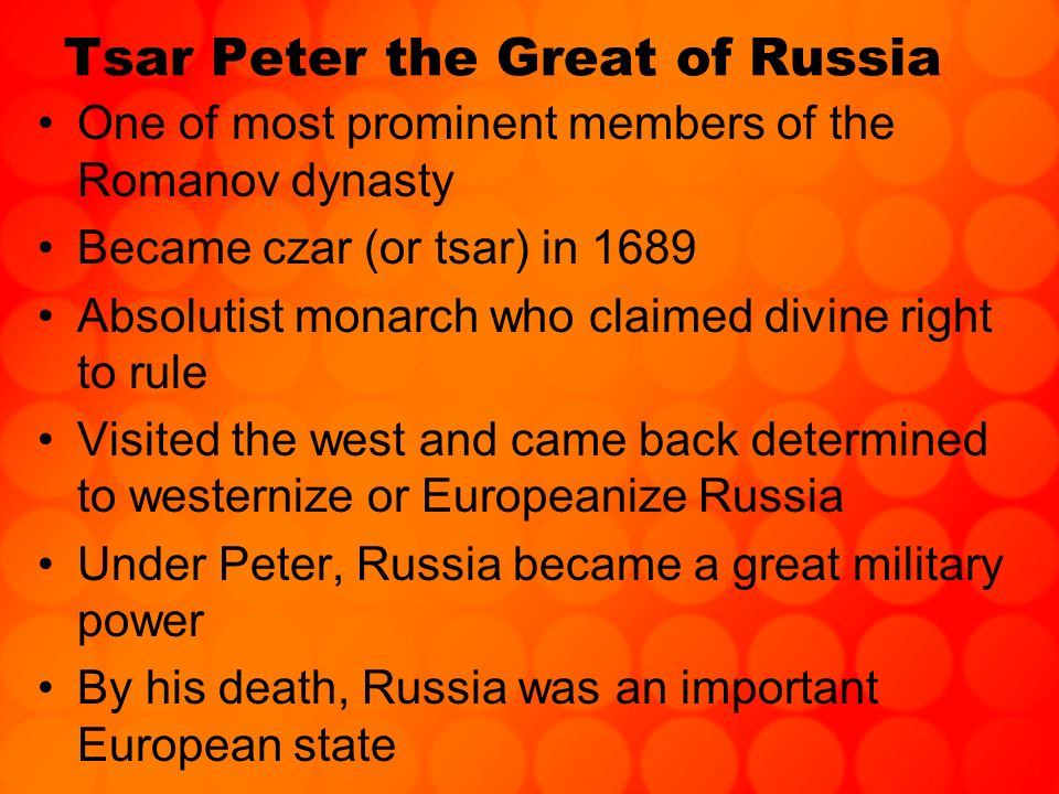 Tsar Peter the Great of Russia