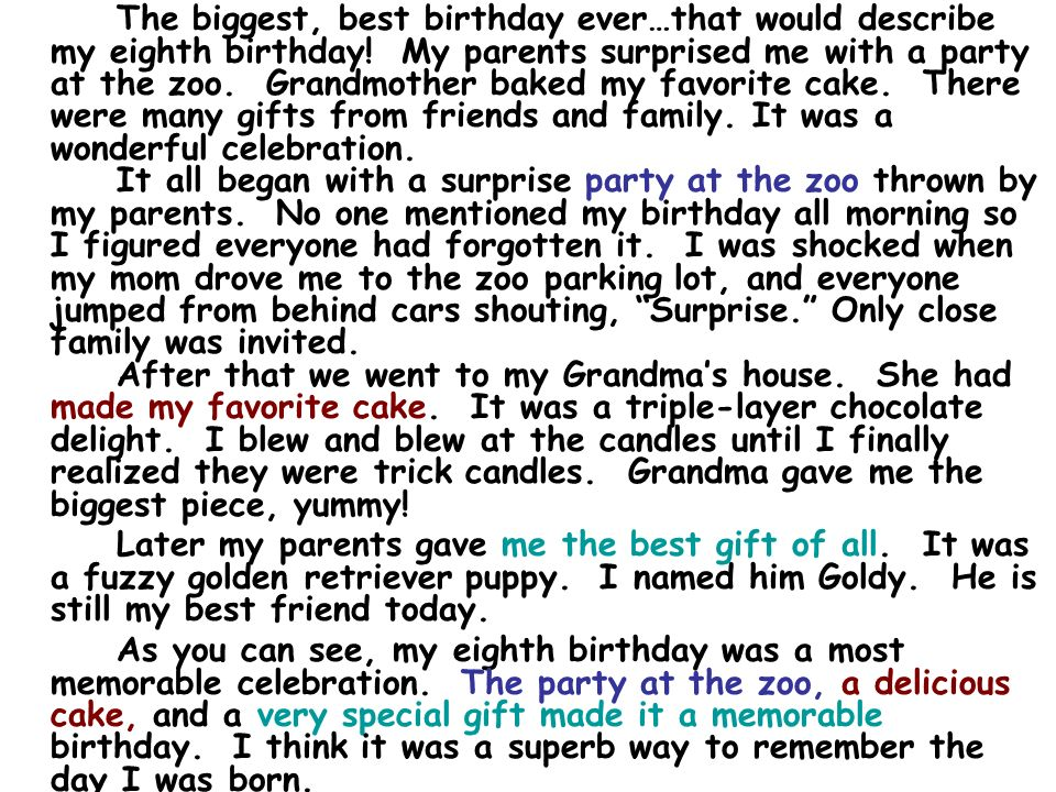 essay about my birthday party Birthday cake essay birthday cake essay 1010 words dec 14th, 2015 5 pages  so, when my son was approaching his 7th birthday, i wanted to throw him a birthday party as memorable as the.
