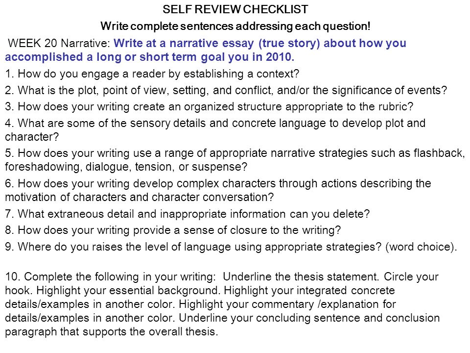 SELF REVIEW CHECKLIST Write complete sentences addressing each question.