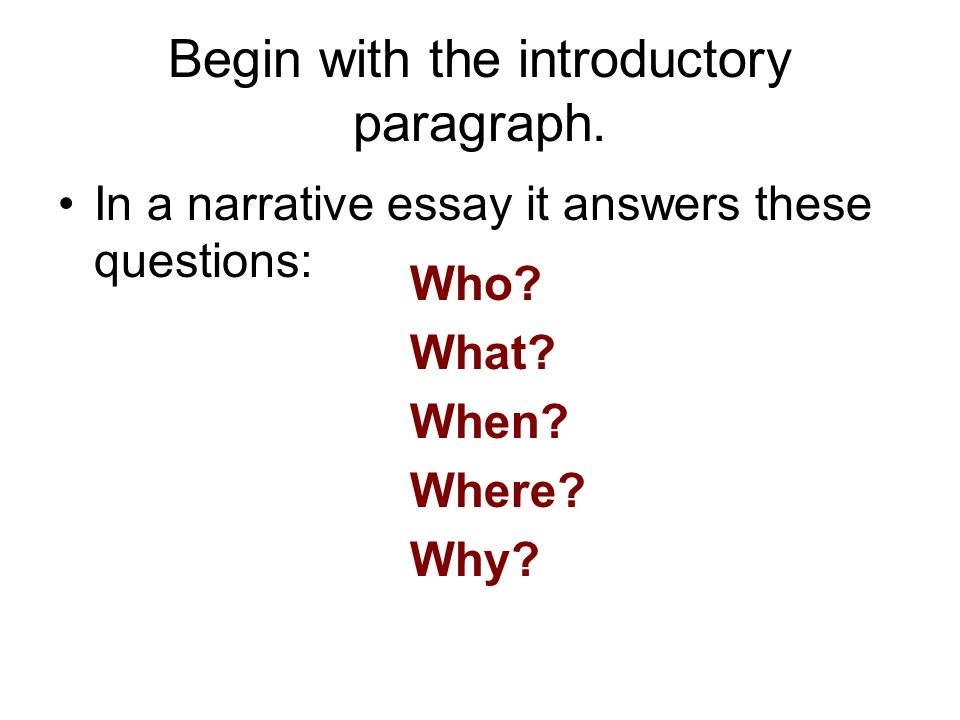 introductory paragraph in a narrative essay Narrative essay the purpose of a narrative is to tell a story in which the introduction the main idea of the narrative is established in the introductory paragraph.