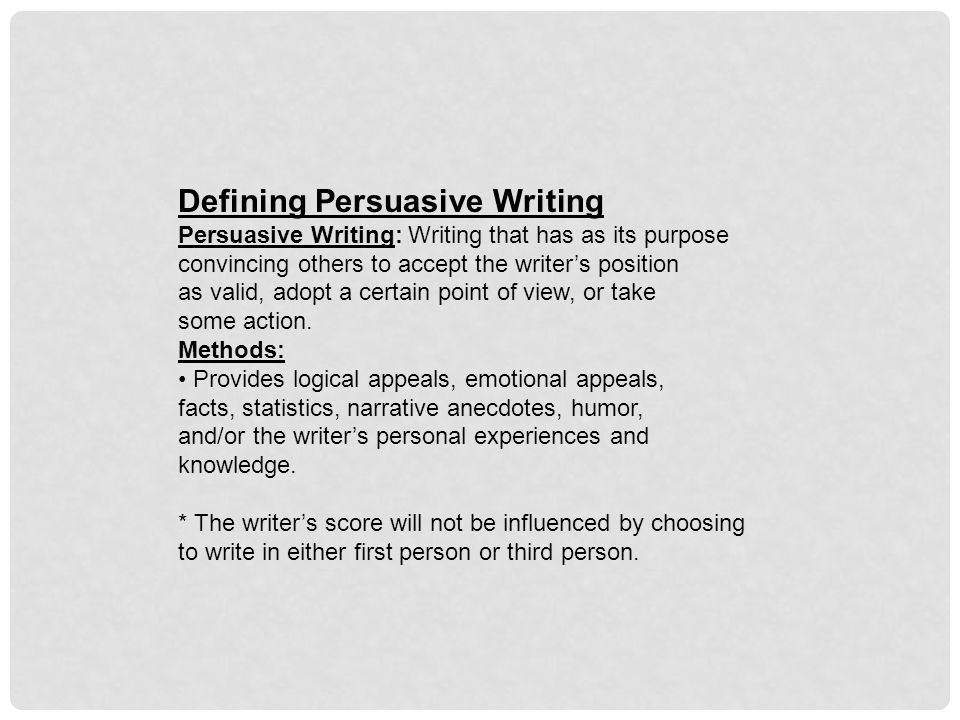 Defining Persuasive Writing