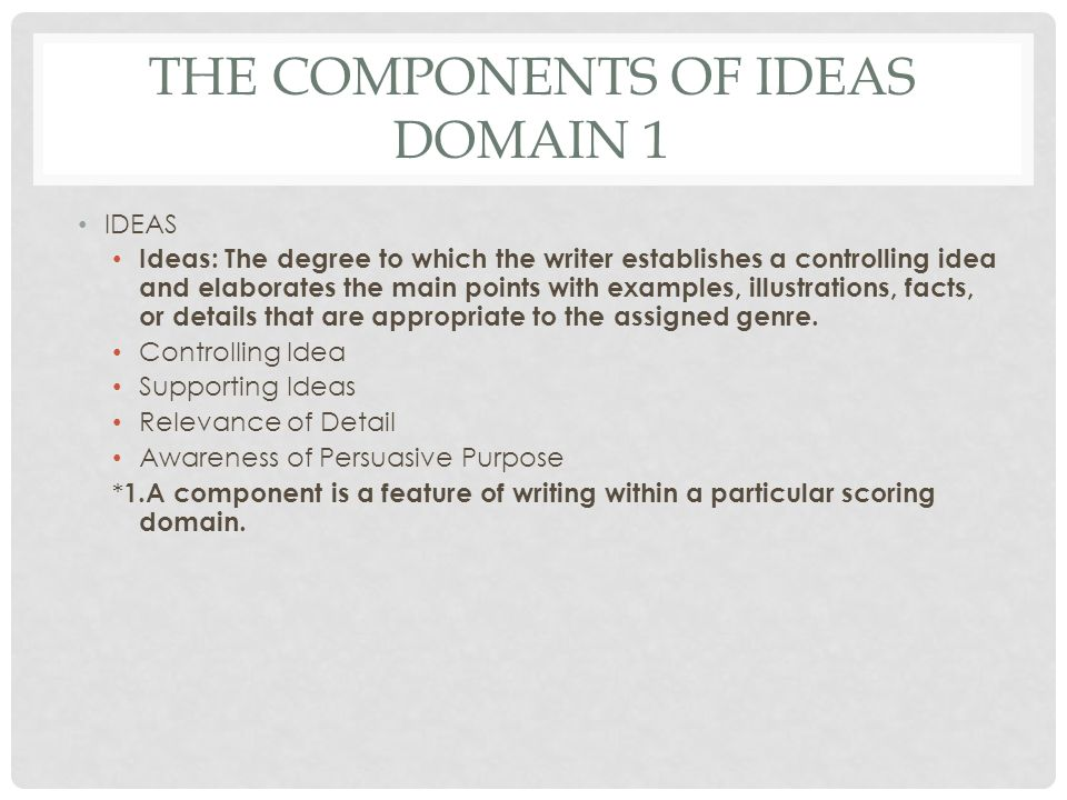 The Components of Ideas Domain 1