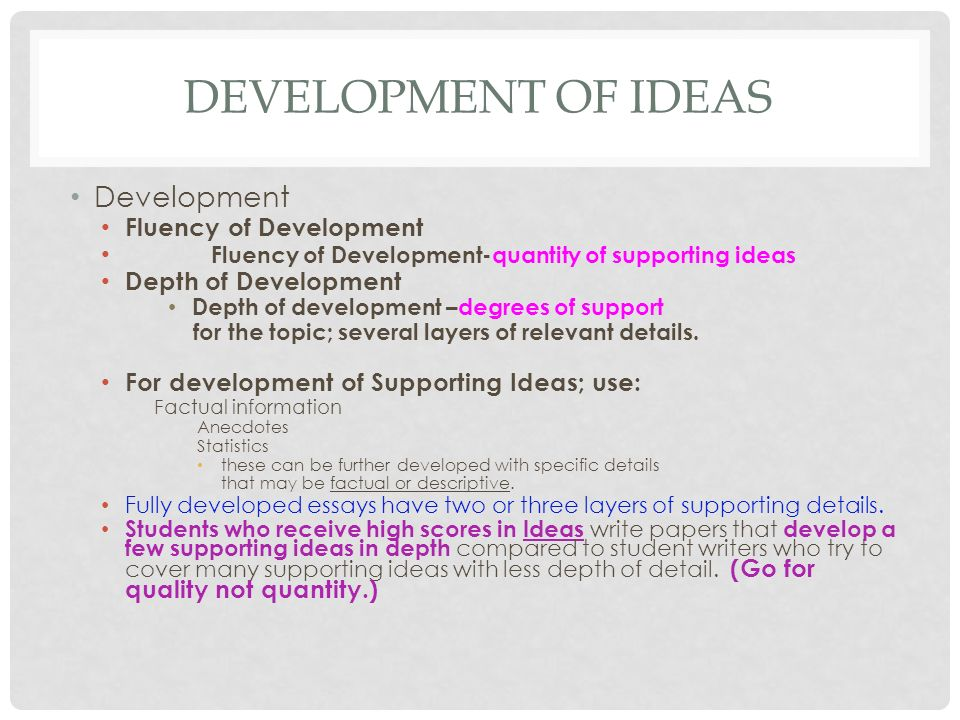 Development of Ideas Development Fluency of Development