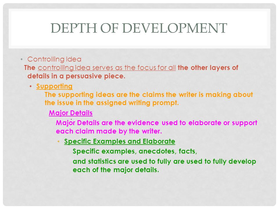 Depth of Development Controlling Idea