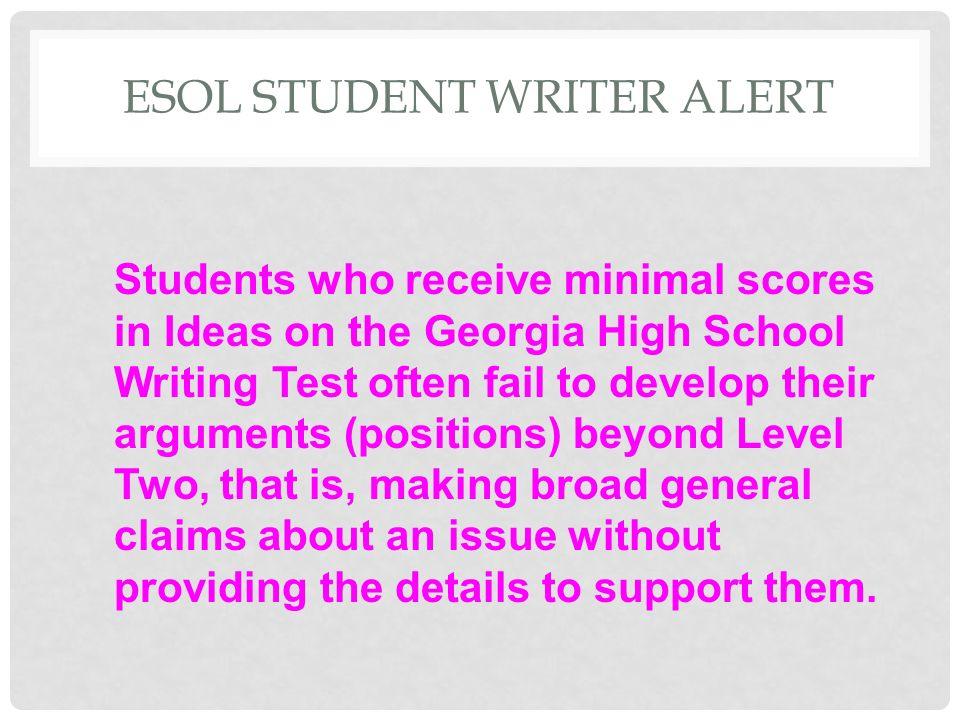 ESOL STUDENT WRITER ALERT
