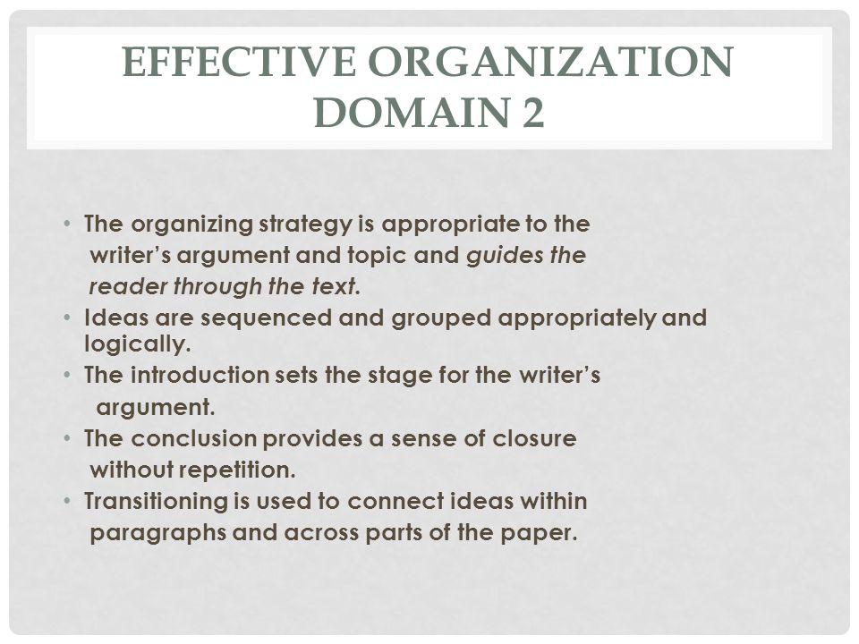 Effective Organization Domain 2