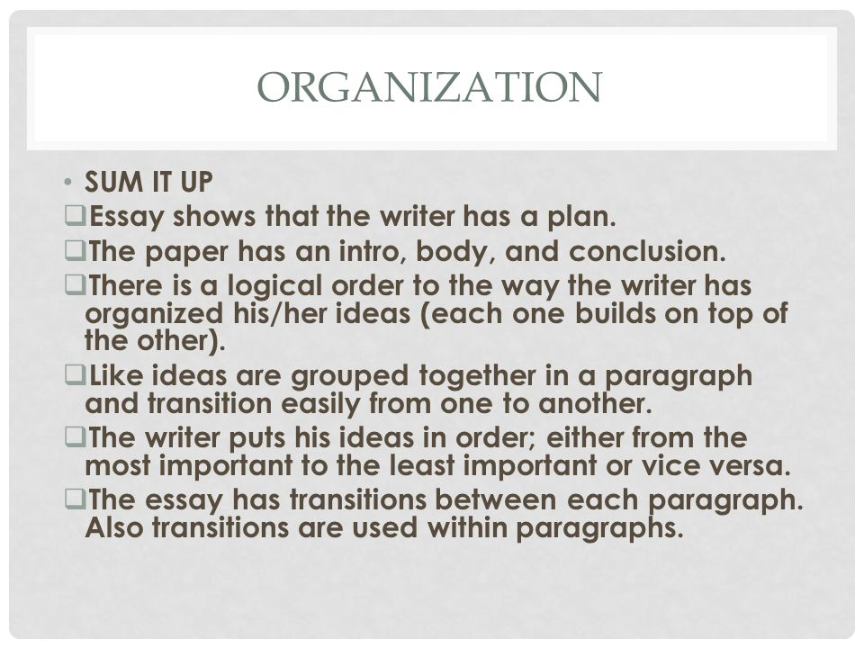 ORGANIZATION SUM IT UP Essay shows that the writer has a plan.