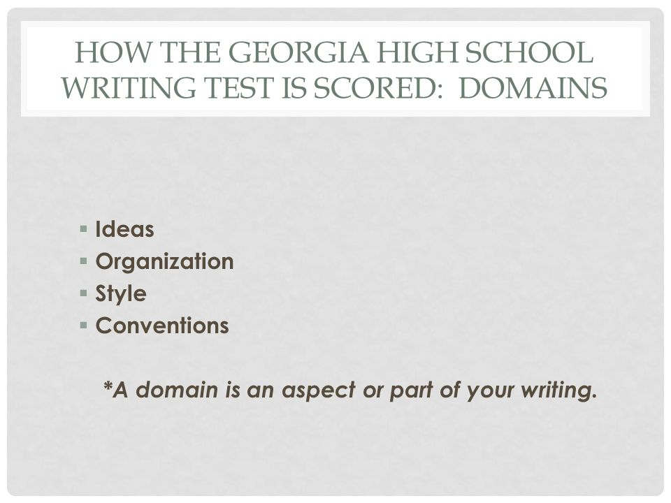 How the Georgia High School Writing Test is Scored: Domains