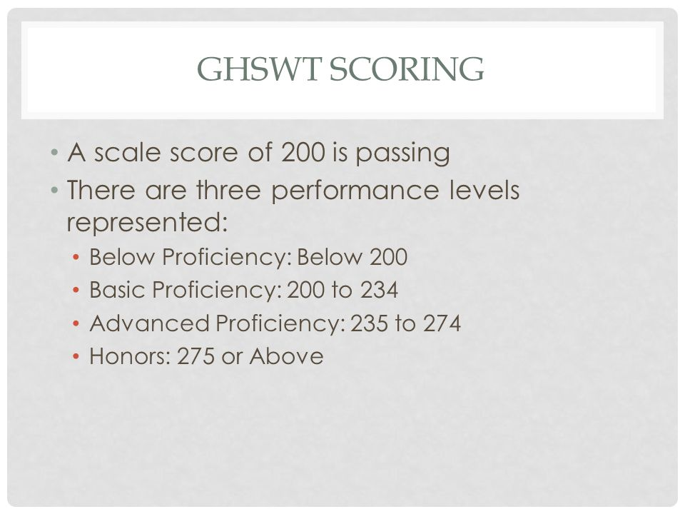 GHSWT Scoring A scale score of 200 is passing