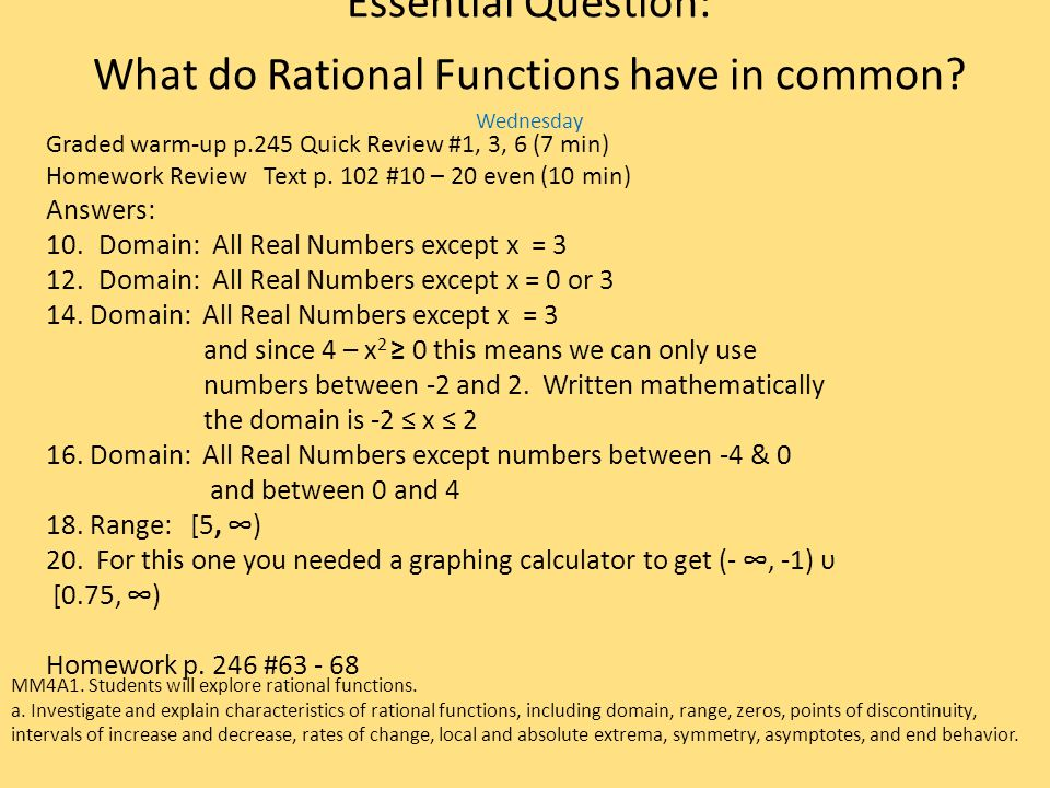 Essential Question: What do Rational Functions have in common