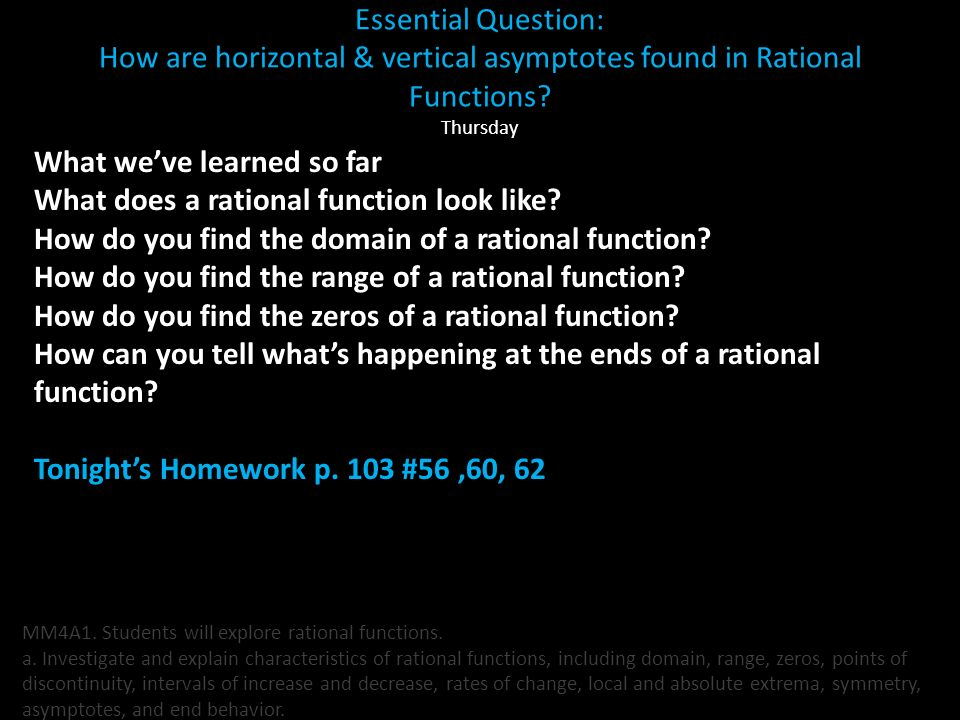 What we've learned so far What does a rational function look like
