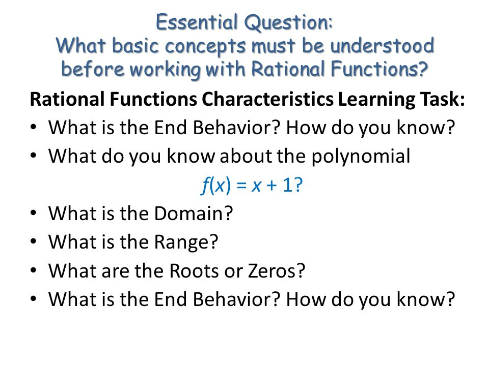 Rational Functions Characteristics Learning Task: