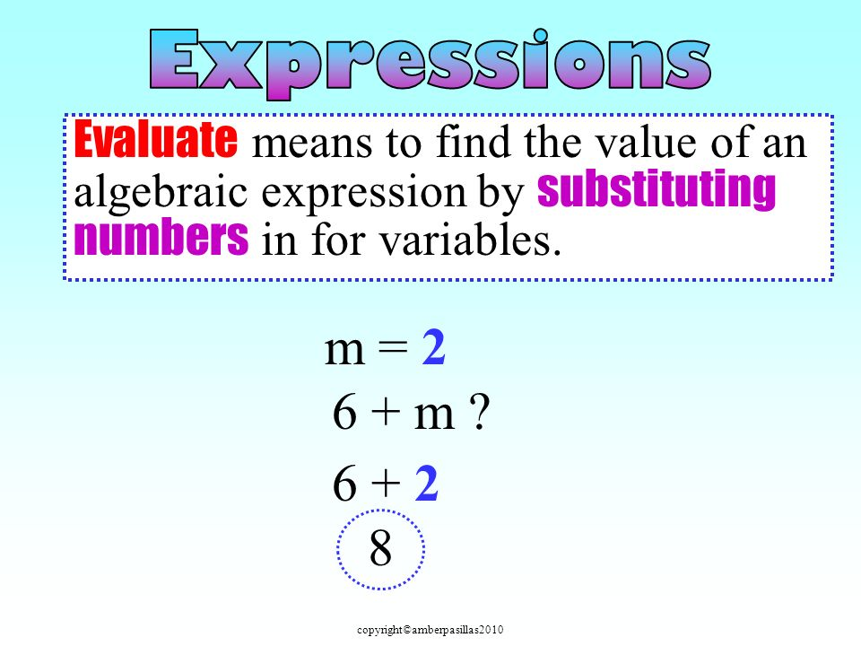 m = 2 6 + m 6 + 2 8 Evaluate means to find the value of an