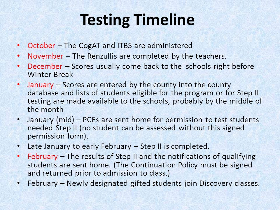 Testing Timeline October – The CogAT and ITBS are administered