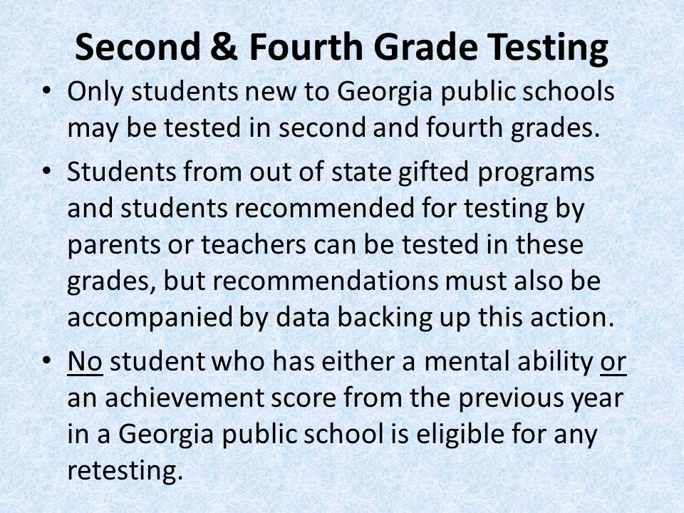 Second & Fourth Grade Testing