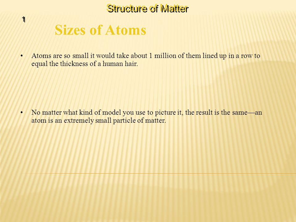 Sizes of Atoms Structure of Matter 1
