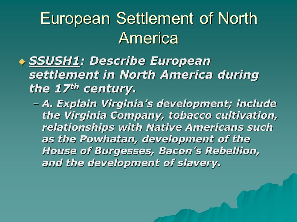 """european settling in america essay The native american in american history – essay dealings of european settlers western ideas of settling and living """"native american agricultural methods."""