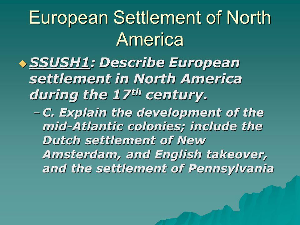 European Settlement of North America