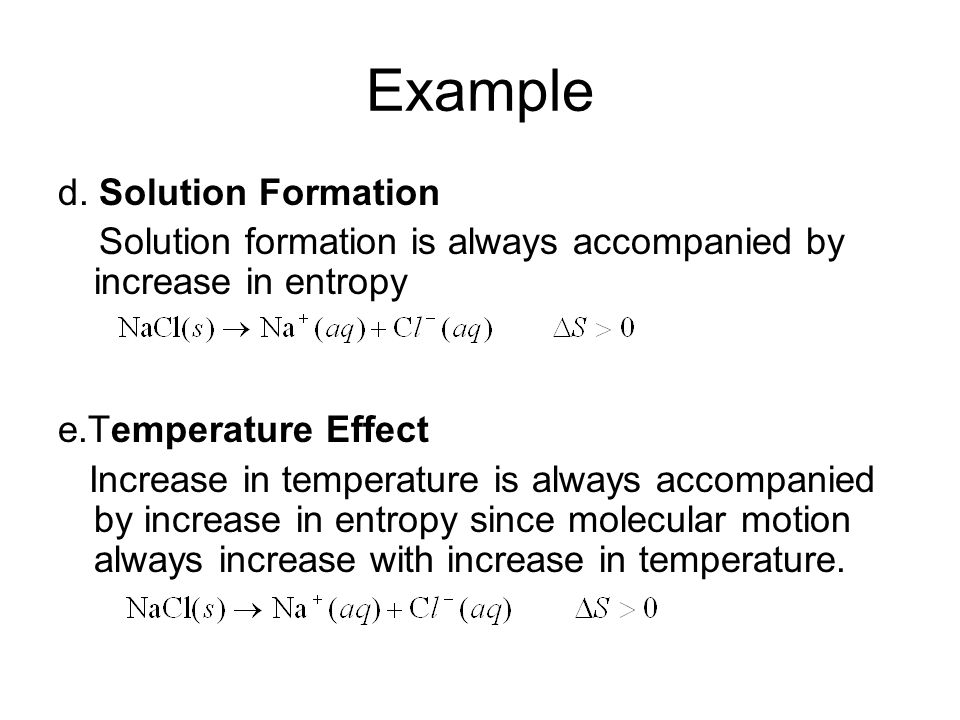 Example d. Solution Formation