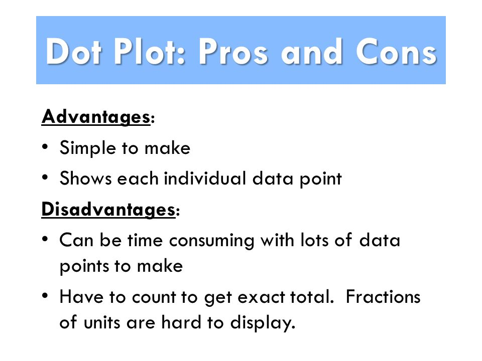 Dot Plot: Pros and Cons Advantages: Simple to make