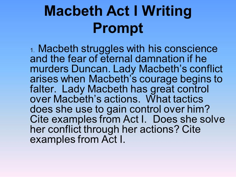 Macbeth Act I Writing Prompt Ppt Video Online Download