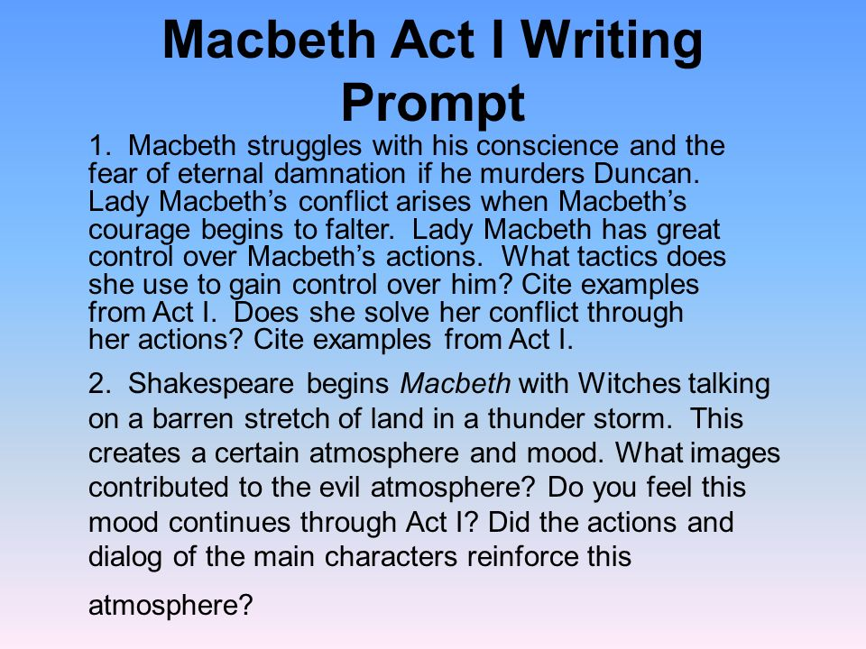 Macbeth Act I Writing Prompt