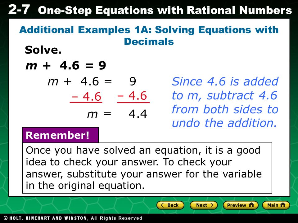 Additional Examples 1A: Solving Equations with Decimals