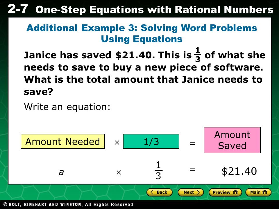 Additional Example 3: Solving Word Problems Using Equations