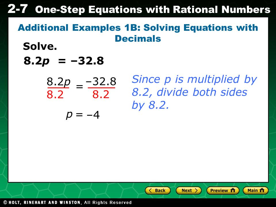 Additional Examples 1B: Solving Equations with Decimals