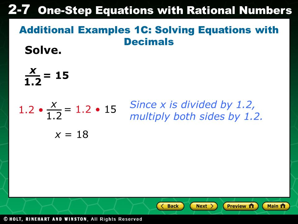 Additional Examples 1C: Solving Equations with Decimals