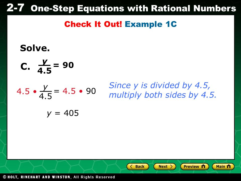 C. Solve. Check It Out! Example 1C y 4.5 = 90