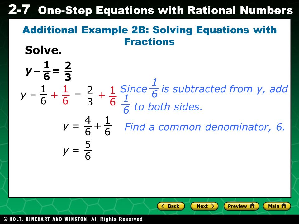 Additional Example 2B: Solving Equations with Fractions