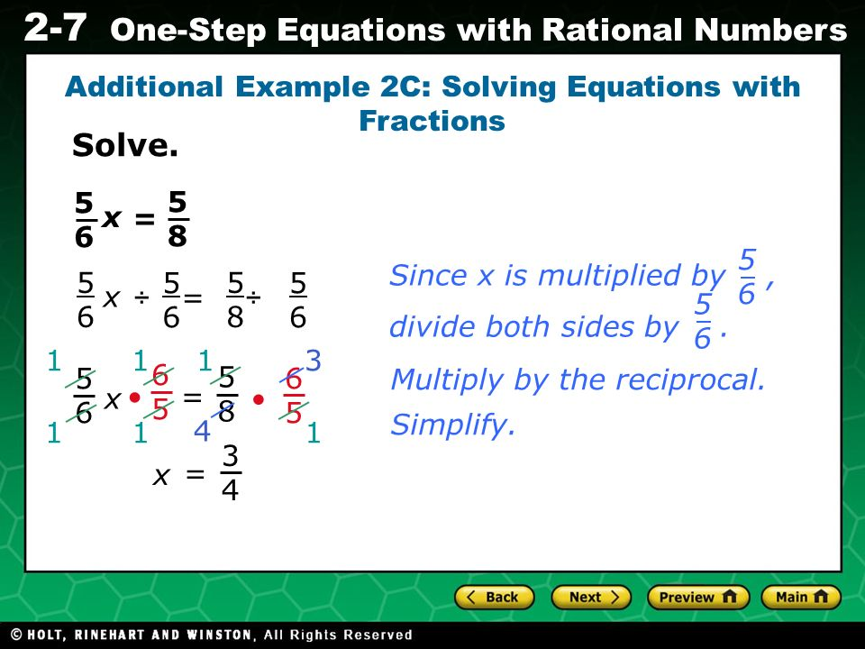 Additional Example 2C: Solving Equations with Fractions