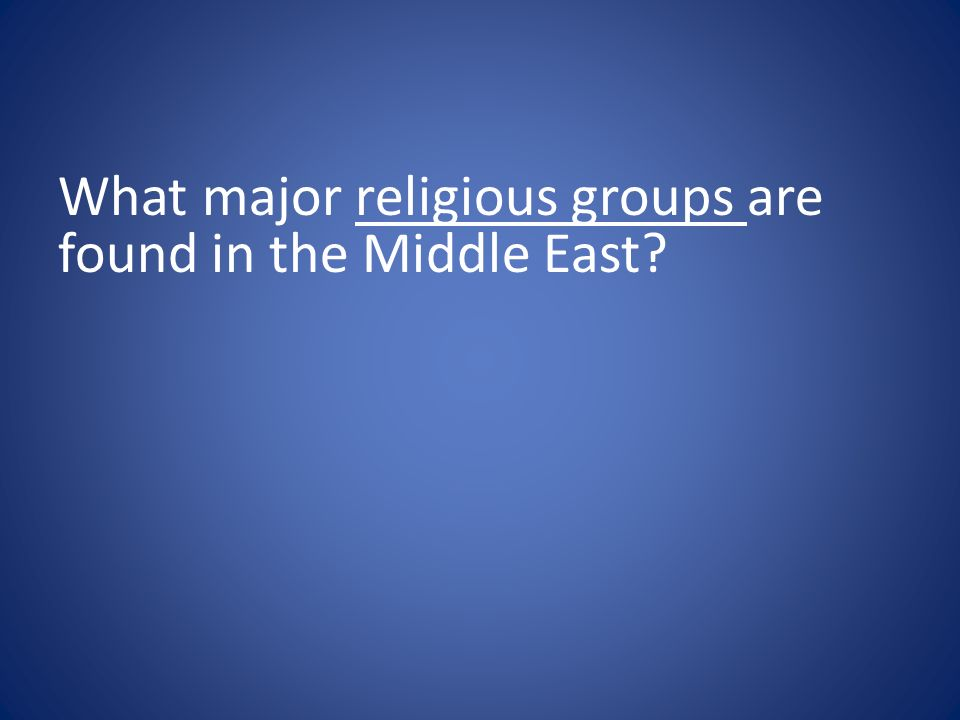 What major religious groups are found in the Middle East