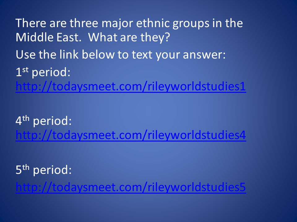 There are three major ethnic groups in the Middle East. What are they