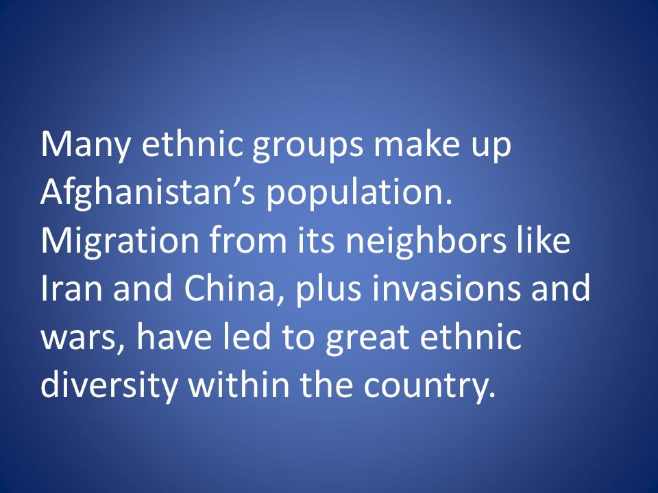 Many ethnic groups make up Afghanistan's population