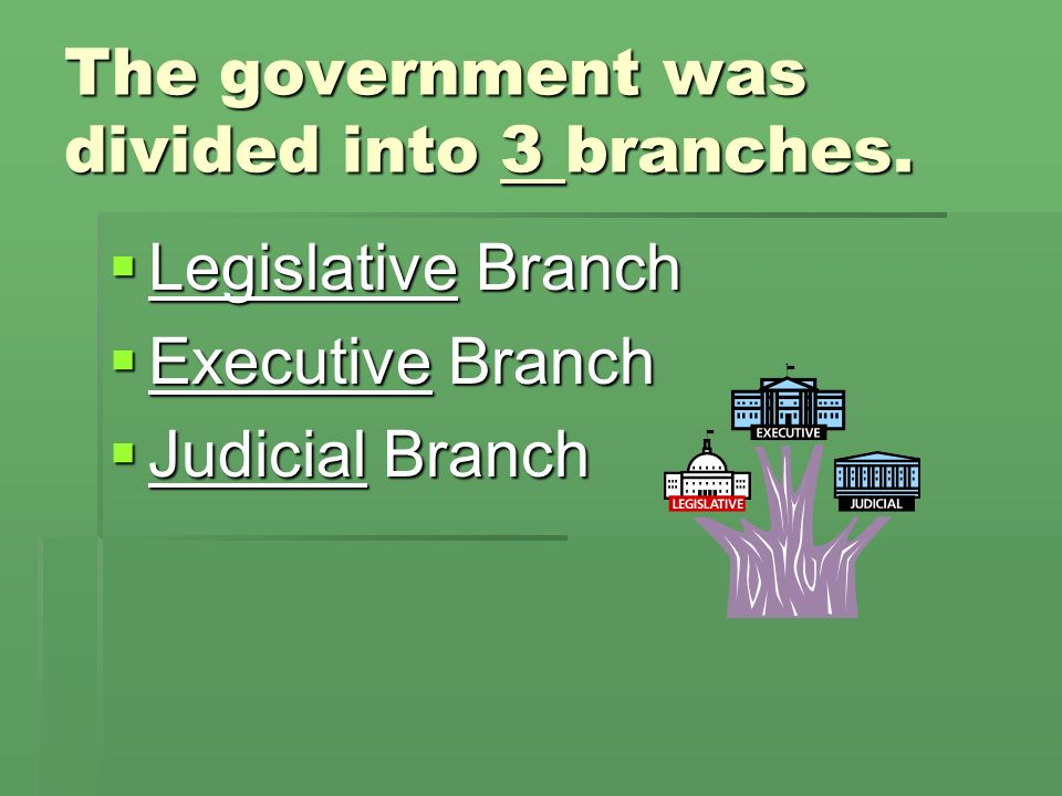 The government was divided into 3 branches.