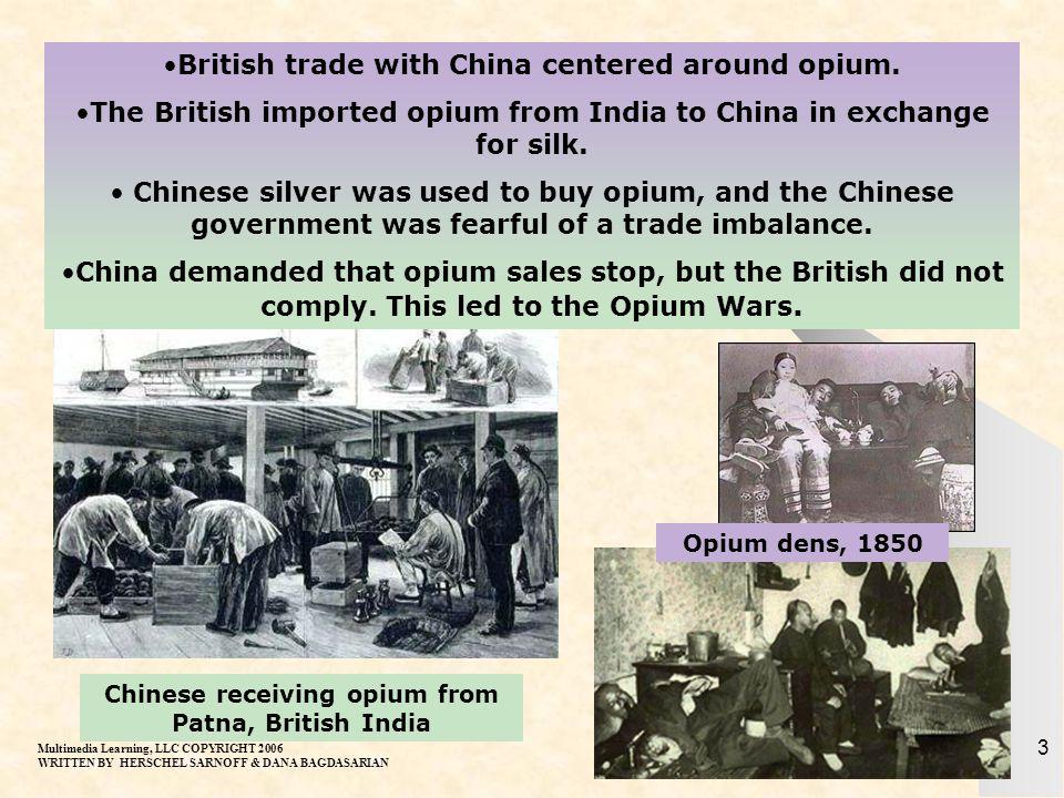 British trade with China centered around opium.