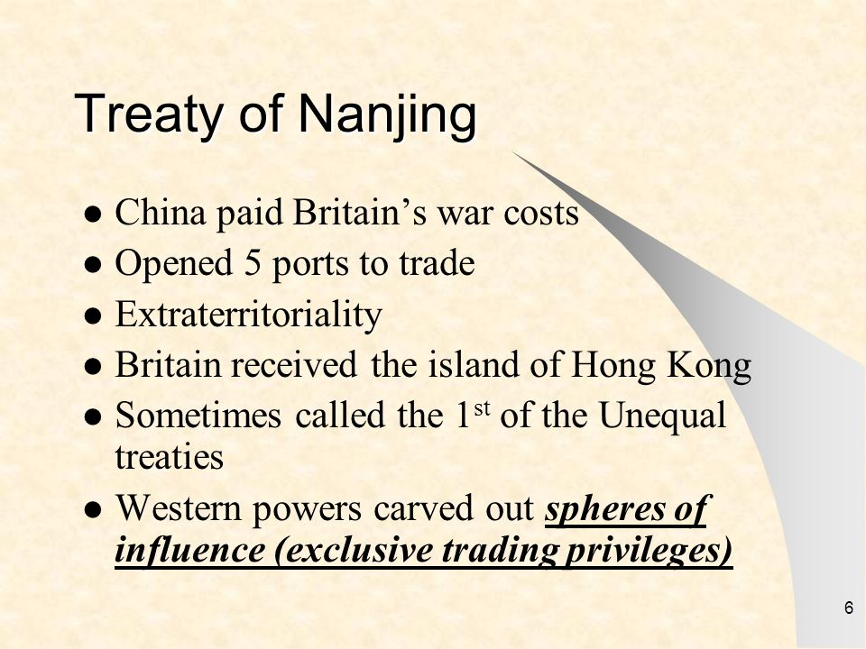 Treaty of Nanjing China paid Britain's war costs